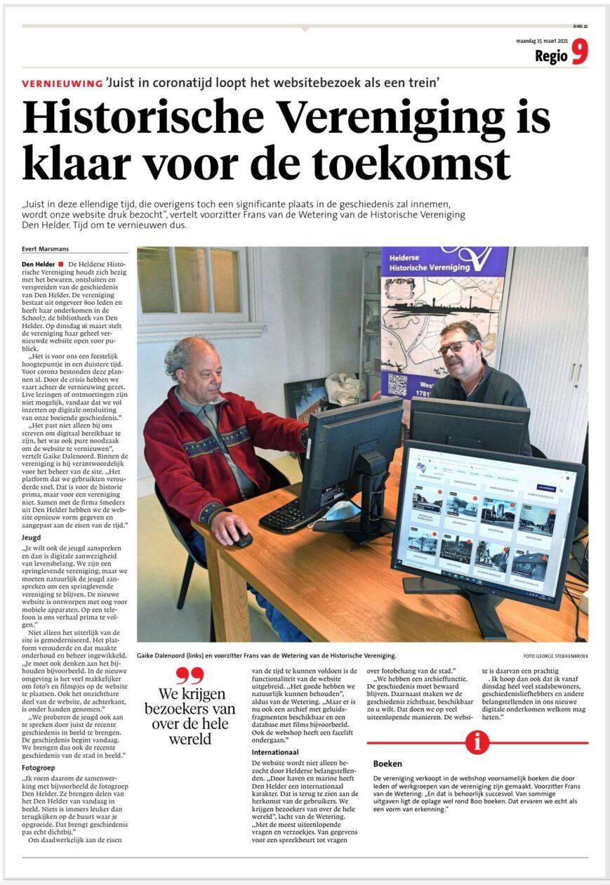 Krantenartikel Noordhollands Dagblad van maandag 15-maart-2021, naar aanleiding van de lancering van de nieuwe web-site van de HHV